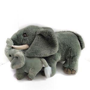 Vintage Elephant Baby & Mama Plush Stuffed Animal